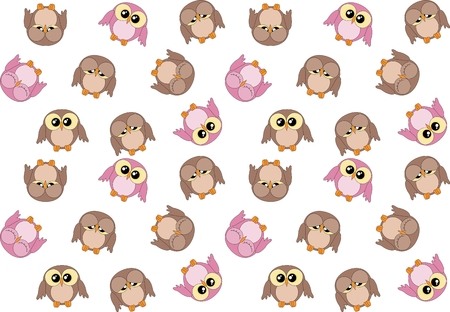 kiddish: Seamless pattern with cute pink and brown owls on white Illustration