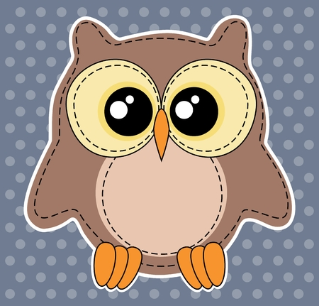boyish: Cute owl label on dotted blue background. Animal motif Illustration