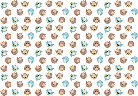 boyish: Seamless pattern with cute blue and brown owls on white background