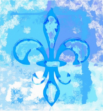 Fleur de lis digital painting in blue spectrum