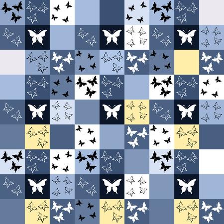 boyish: Seamless blue mosaic with butterfly motif. Tileable pattern Illustration