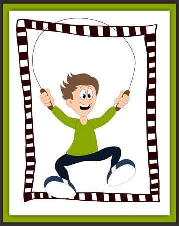 Boy playing with the skipping rope card - scrapbook style