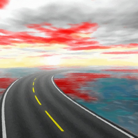morn: Abstract road landscape with red clouds - digital painting