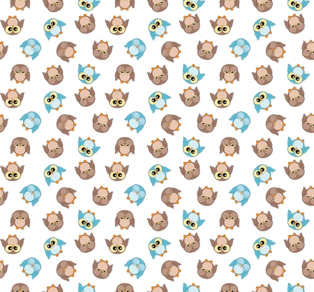 boyish: Tileable pattern with cute blue and brown owls on white background Stock Photo