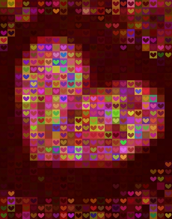 Beautiful heart shape background in red spectrum - mosaic pattern Vector