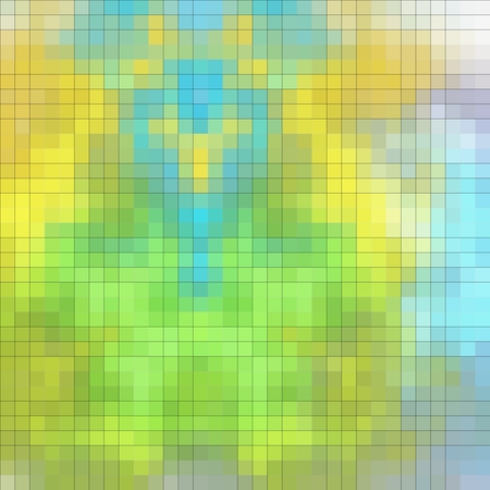 boyish: Abstract pixelated texture or pattern in green, blue and yellow