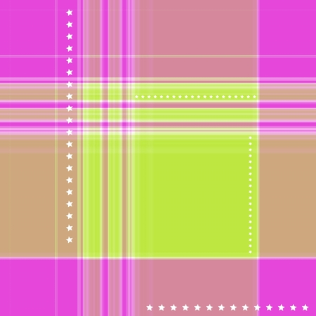 gingham pattern: Ornate gingham pattern in pink and green with star motif Stock Photo