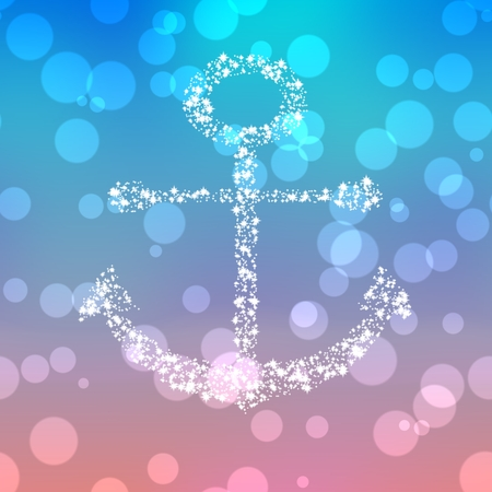 pointed arrows: Starry anchor decor on colored background with bokeh