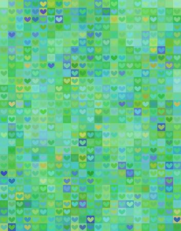 Beautiful heart shape pattern in green spectrum - mosaic pattern