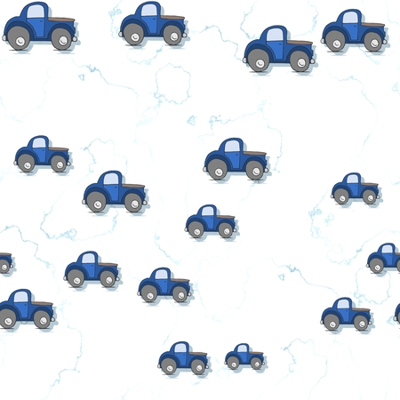 boyish: Seamless cars pattern scattered on white textured background