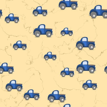kiddish: Seamless cars pattern scattered on yellow textured background
