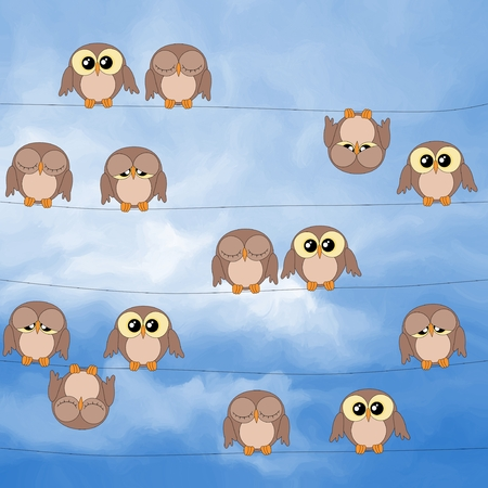 Illustration of cute owls sitting on power lines against blue sky