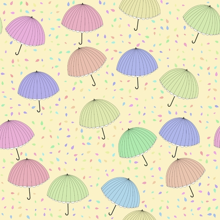 pastel colored: Decorated background with pastel colored umbrellas motif Stock Photo