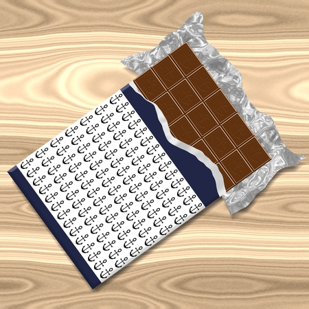 aluminum foil: Chocolate bar with anchor motif on wooden background