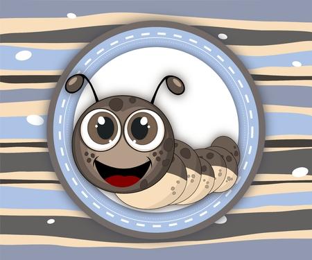 maggot: Cute smiling caterpillar label card in scrapbook style