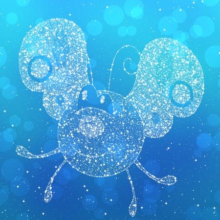feeler: Starry butterfly silhouette on blue background