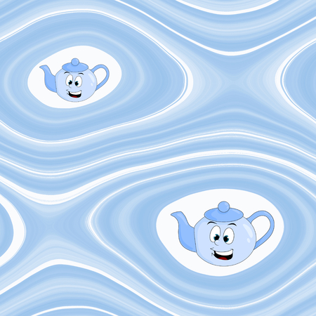 boyish: Abstract background with cartoon kettle in blue spectrum