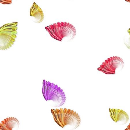 gauzy: Seamless fan-shaped pattern on white background Stock Photo