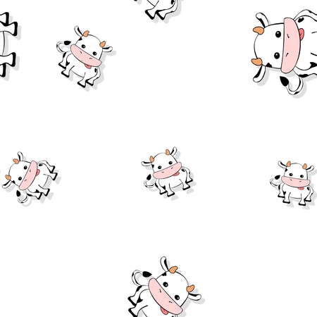 beautiful cow: Seamless cartoon cow pattern with drop shadow on white background