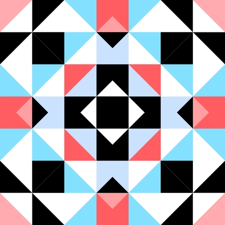 trigonal: Seamless decorative pattern with triangular elements in blue, black, white and red spectrum