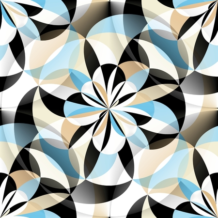 repeat pattern: Seamless geometric pattern with rounded elements in blue, black, white and brown