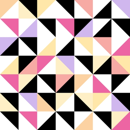 pink and black: Seamless geometric pattern with colored triangular elements in pink, black, yellow and violet
