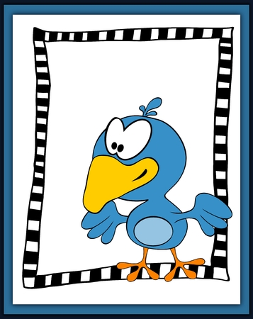 trill: Cartoon happy bird card in scrapbooking style