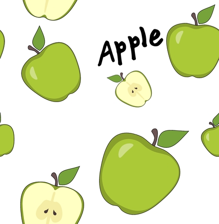 green apples: Seamless green apples pattern on white background Stock Photo