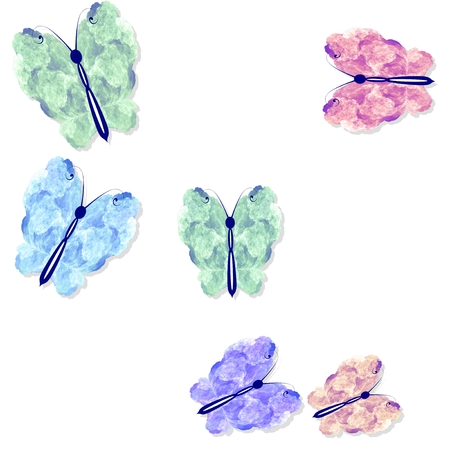 feeler: Abstract rainbow colored butterflies pattern on white background