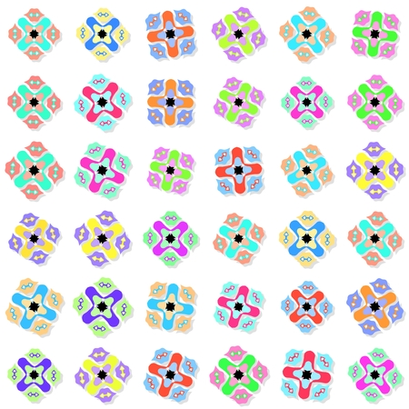 dazzling: Seamless pattern with colorful ornaments on white background
