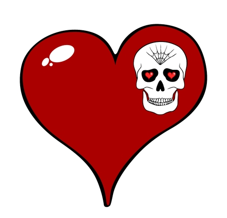 eye sockets: Red heart and skull motif isolated on white background