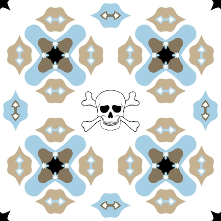 boyish: Seamless ornate pattern with skull design on white background