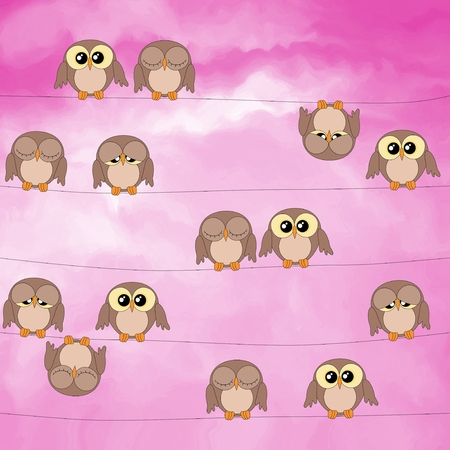 pink sky: Cute owls sitting on power lines against the pink sky