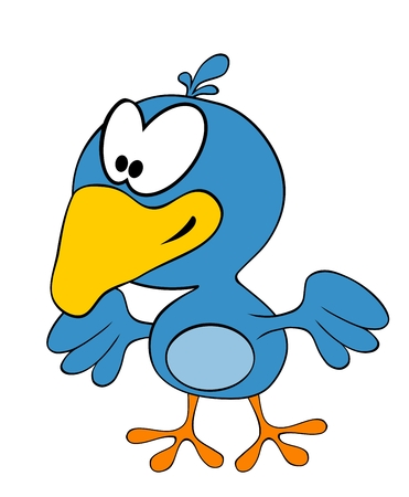 trill: Cartoon smiling crow isolated on white background Illustration