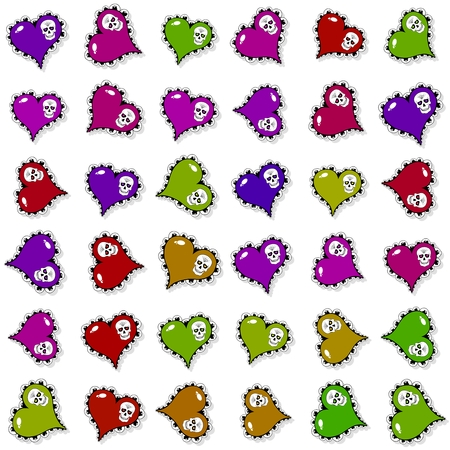 jawbone: Seamless pattern with ornate colored hearts and skulls on white background