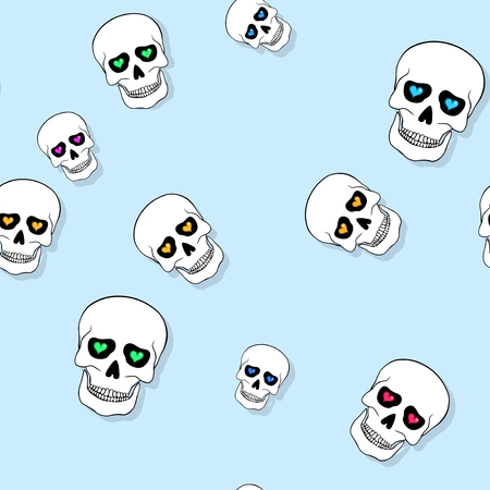 jawbone: Seamless pattern with skulls and hearts on blue background
