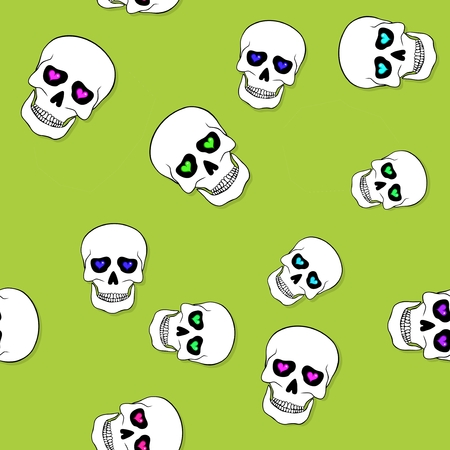 jawbone: Seamless pattern with skulls and hearts on green background