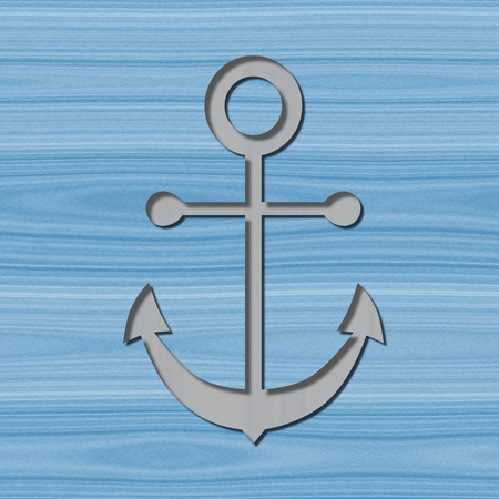Grey anchor motif with drop shadow on blue wooden background