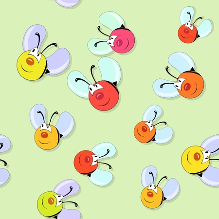 pollinate: Happy colored bees seamless pattern on green background Stock Photo