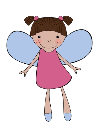 baby angel: Fata carino sorridente isolato su sfondo bianco