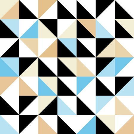 deltoid: Seamless geometric pattern with triangular elements in blue, black, white and brown
