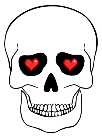 cranial skeleton: Abstract skull with hearts isolated on white background