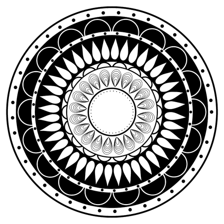 black circle: Hand drawing zentangle mandala element in black and white