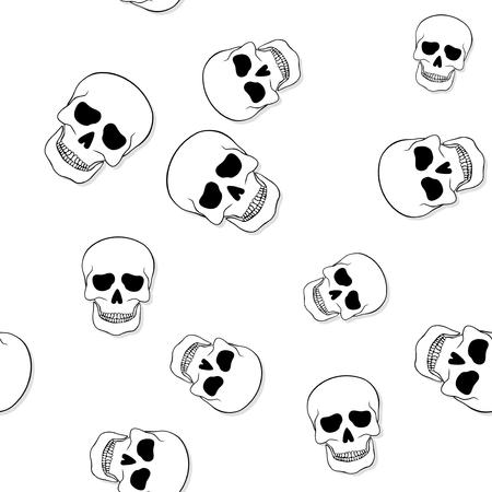 jawbone: Seamless pattern with skulls on white background Stock Photo