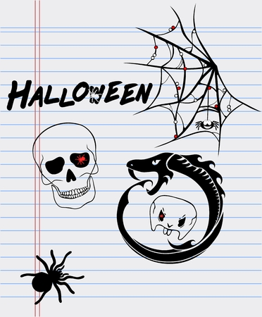 cranial skeleton: Halloween drawings on a sheet of paper-spider, skull, ouroboros and cobweb Illustration