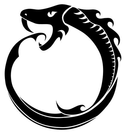 Ouroboros  tattoo (snake eating its own tail) isolated on white background