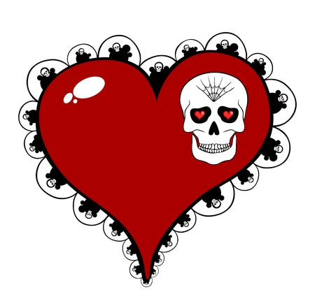 eye sockets: Red heart with skull motif isolated on white background Illustration