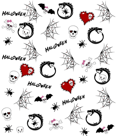 cranial skeleton: Seamless pattern with halloween drawings on white background