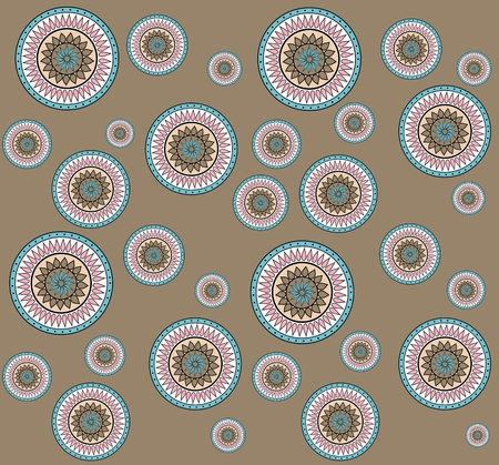 embellished: Seamless pattern with hand drawn zentangle mandala on brown background
