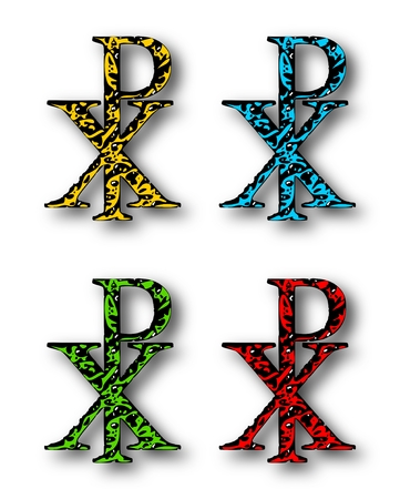 four p: CHI RHO christian symbol set with drop shadow on white background